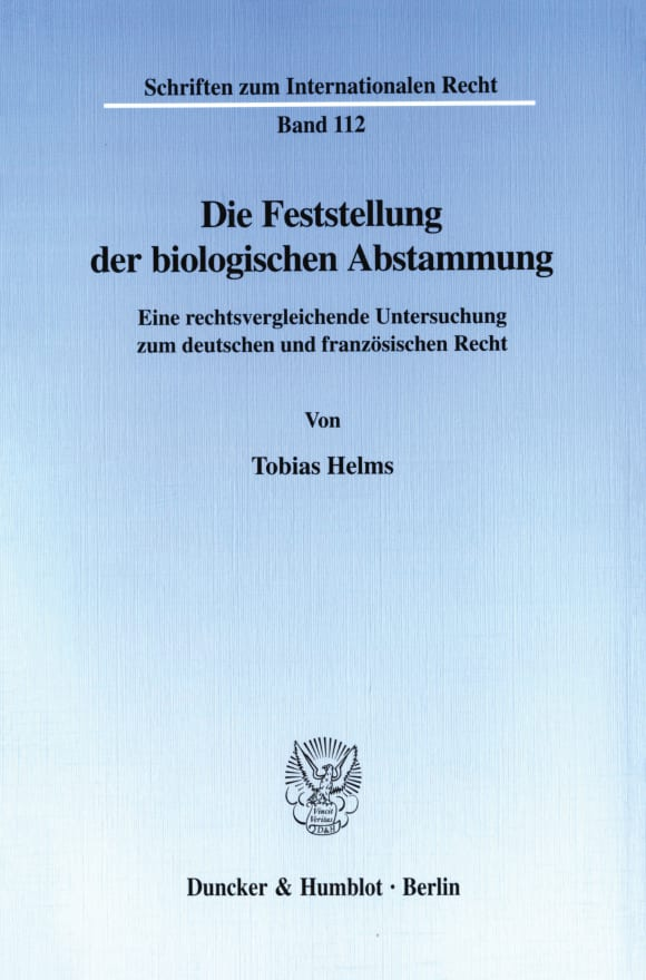 Cover Die Feststellung der biologischen Abstammung