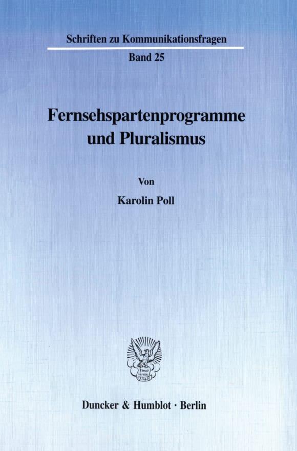 Cover Fernsehspartenprogramme und Pluralismus