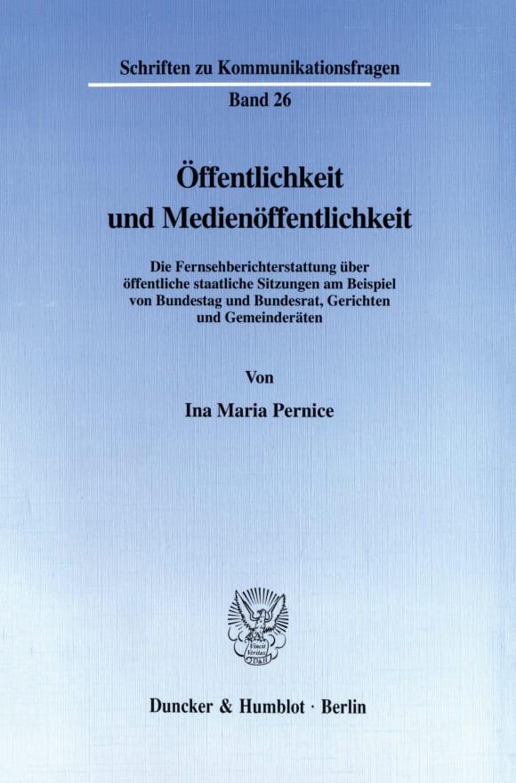 Cover Öffentlichkeit und Medienöffentlichkeit