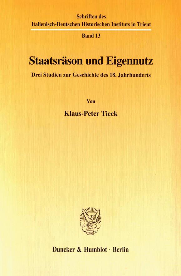 Cover Staatsräson und Eigennutz