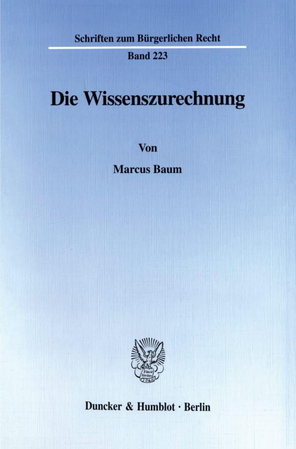 Cover Die Wissenszurechnung