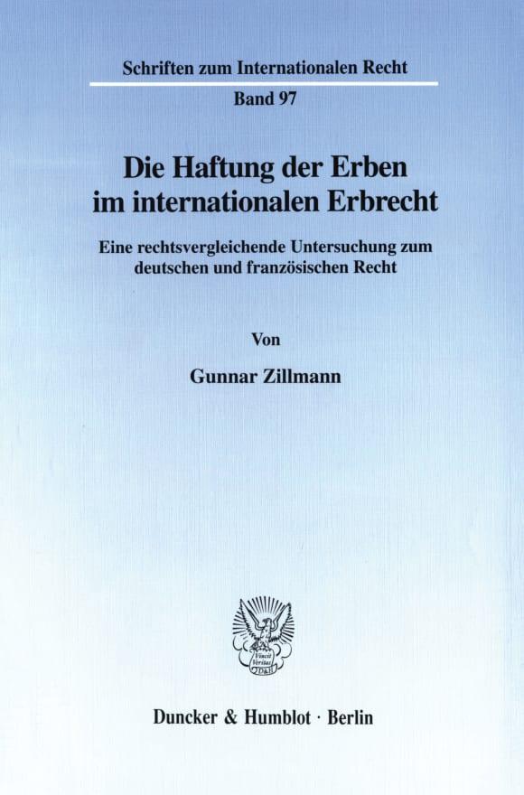 Cover Die Haftung der Erben im internationalen Erbrecht