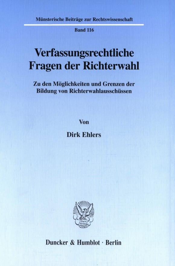 Cover Verfassungsrechtliche Fragen der Richterwahl