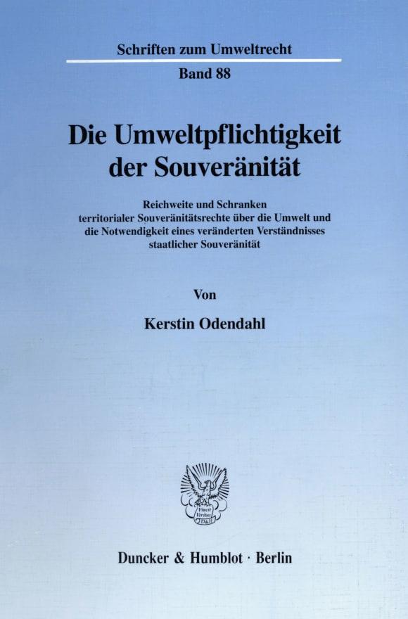 Cover Die Umweltpflichtigkeit der Souveränität