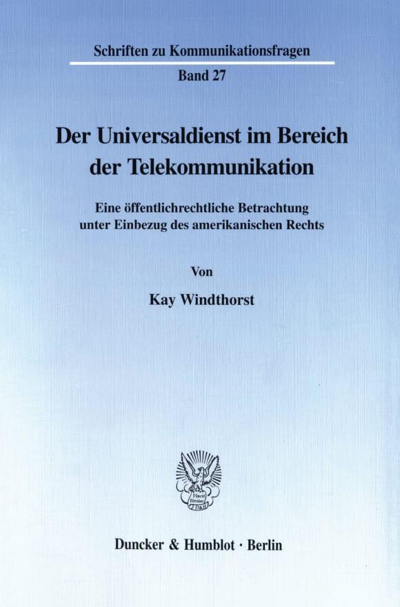 Cover Der Universaldienst im Bereich der Telekommunikation