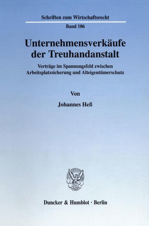 Cover Unternehmensverkäufe der Treuhandanstalt