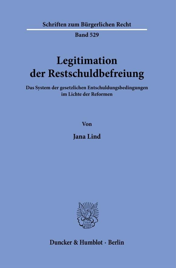 Cover Legitimation der Restschuldbefreiung