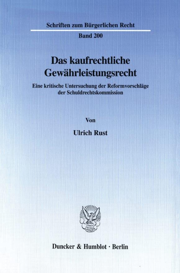 Cover Das kaufrechtliche Gewährleistungsrecht