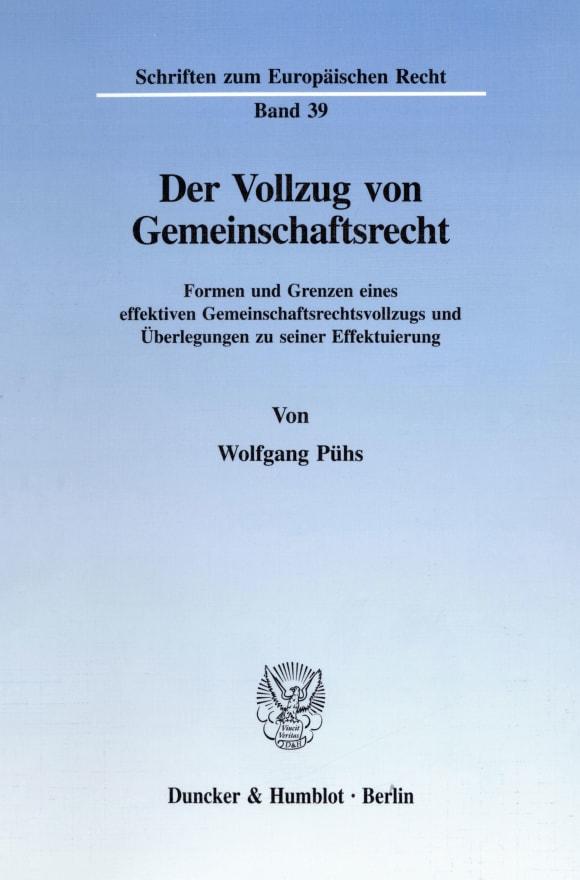 Cover Der Vollzug von Gemeinschaftsrecht