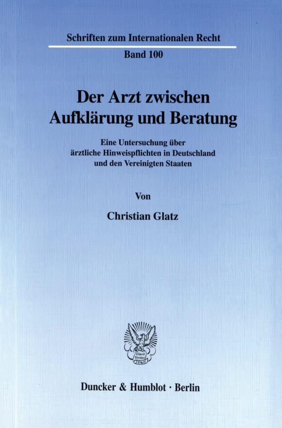 Cover Der Arzt zwischen Aufklärung und Beratung