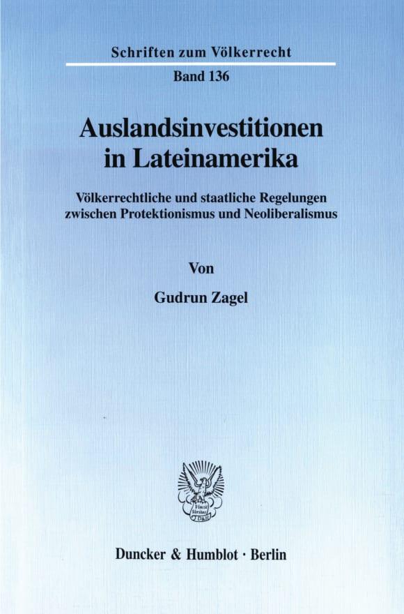 Cover Auslandsinvestitionen in Lateinamerika