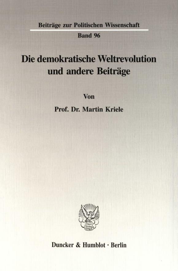 Cover Die demokratische Weltrevolution und andere Beiträge
