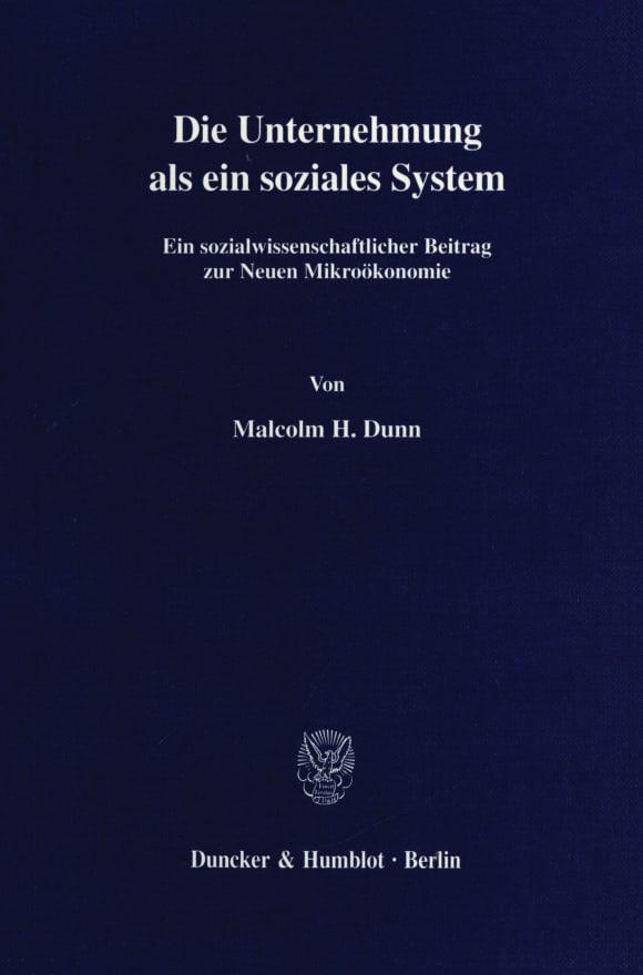 Cover Die Unternehmung als ein soziales System