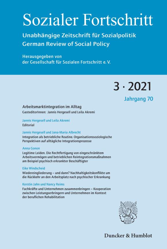 Cover Arbeitsmarktintegration im Alltag (SF 3/2021)