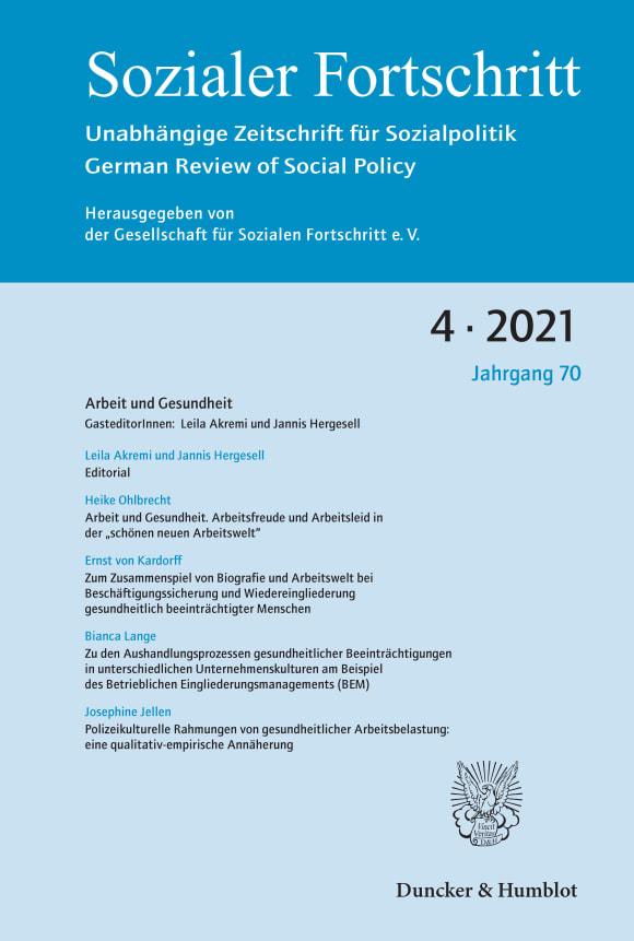 Cover Arbeit und Gesundheit (SF 4/2021)