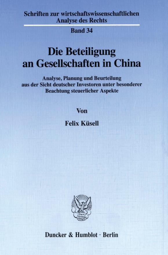 Cover Die Beteiligung an Gesellschaften in China