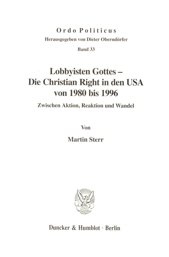 Cover Lobbyisten Gottes - Die Christian Right in den USA von 1980 bis 1996