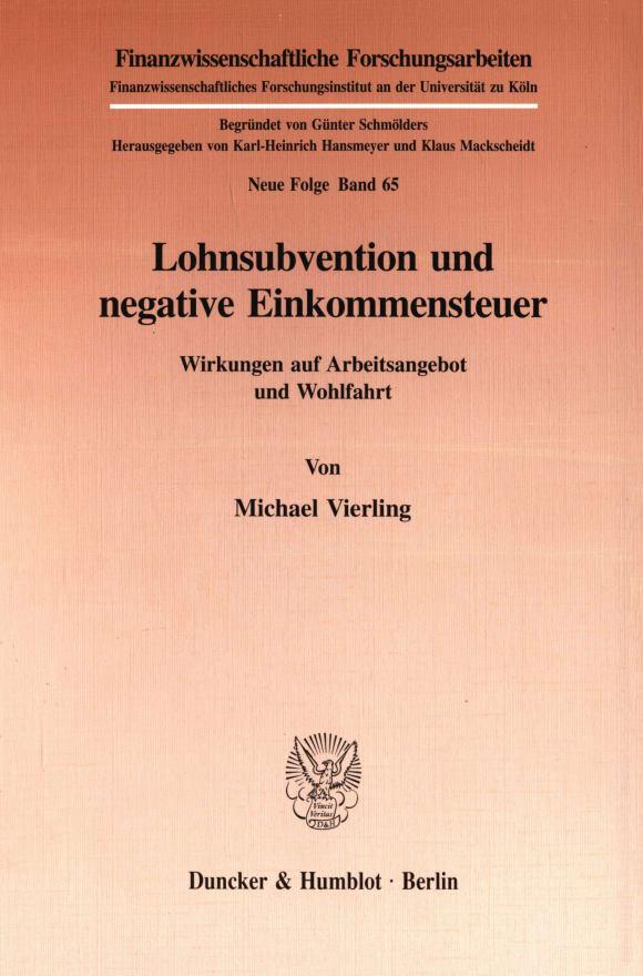Cover Lohnsubvention und negative Einkommensteuer