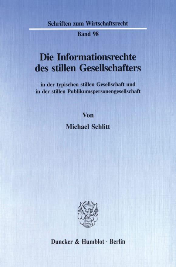 Cover Die Informationsrechte des stillen Gesellschafters