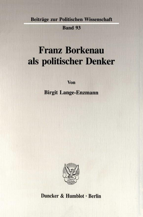 Cover Franz Borkenau als politischer Denker