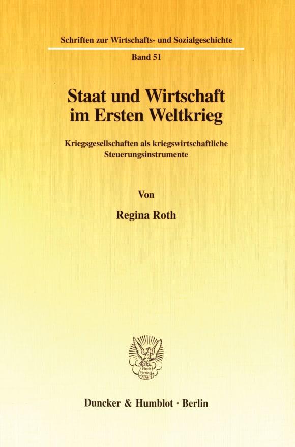 Cover Staat und Wirtschaft im Ersten Weltkrieg