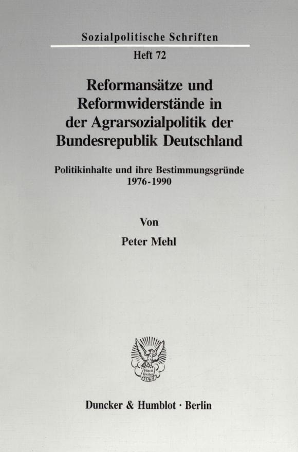 Cover Reformansätze und Reformwiderstände in der Agrarsozialpolitik der Bundesrepublik Deutschland