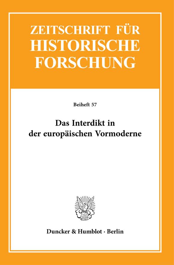 Cover Das Interdikt in der europäischen Vormoderne