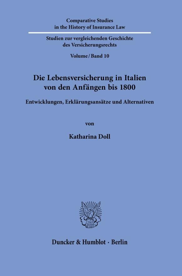 Cover Die Lebensversicherung in Italien von den Anfängen bis 1800