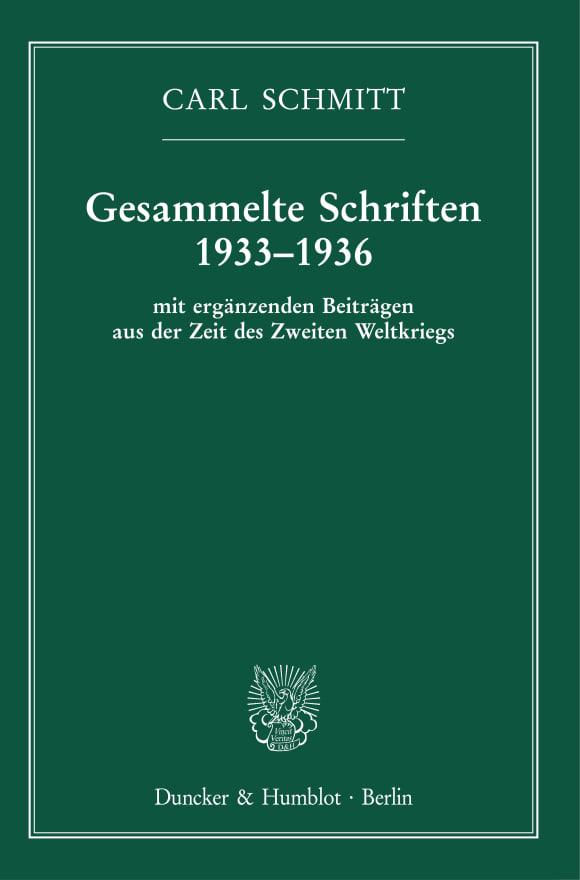 Cover Gesammelte Schriften 1933–1936