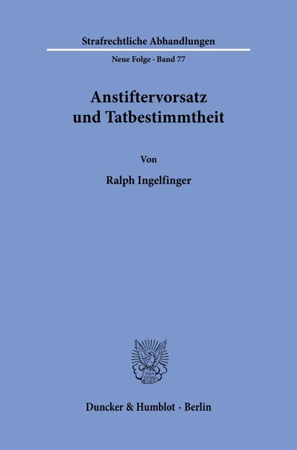 Cover Anstiftervorsatz und Tatbestimmtheit