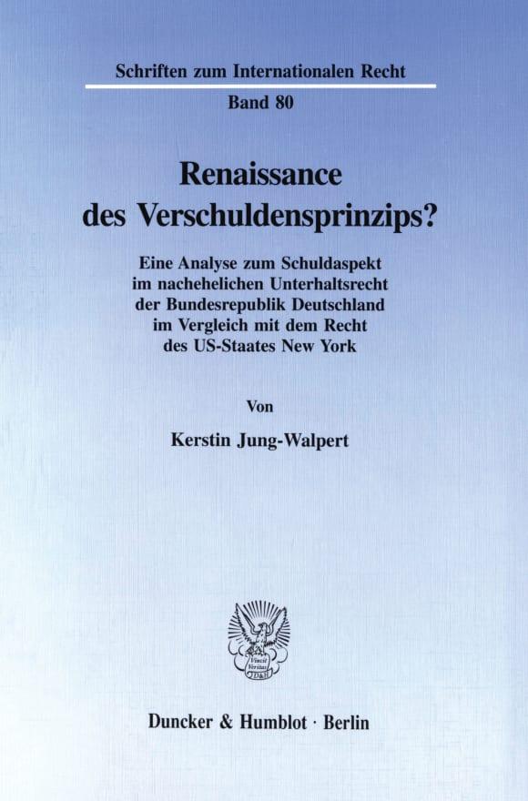 Cover Renaissance des Verschuldensprinzips?