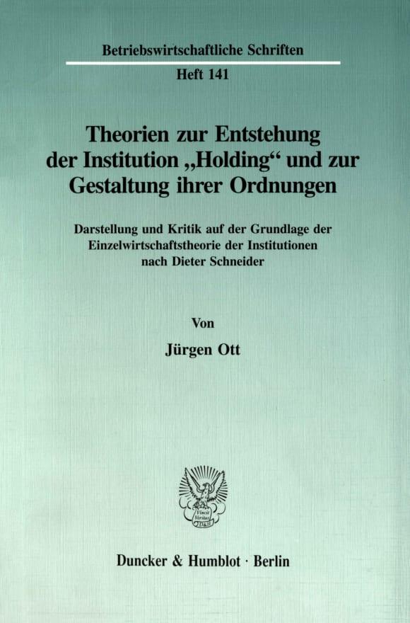 Cover Theorien zur Entstehung der Institution