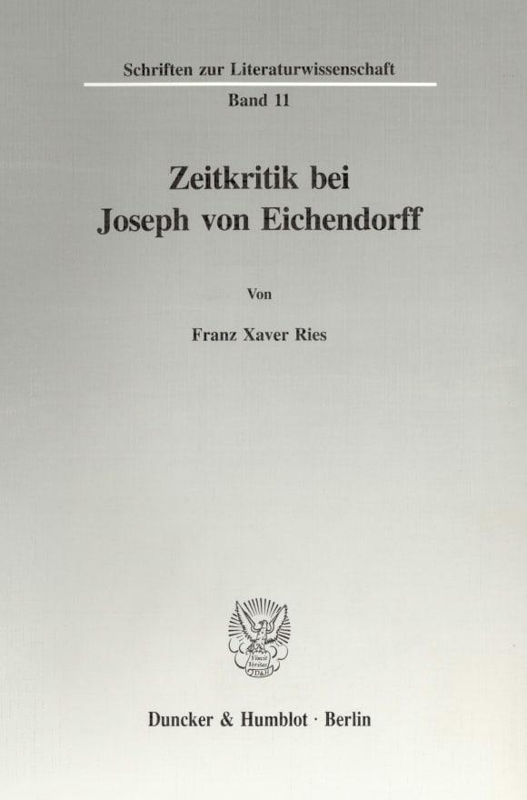 Cover Zeitkritik bei Joseph von Eichendorff