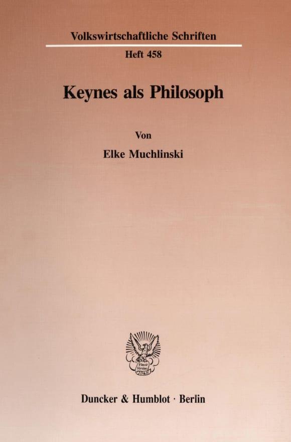 Cover Keynes als Philosoph