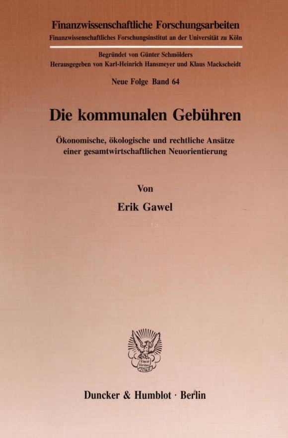Cover Die kommunalen Gebühren