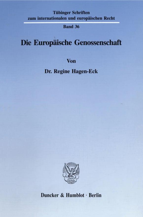 Cover Die Europäische Genossenschaft