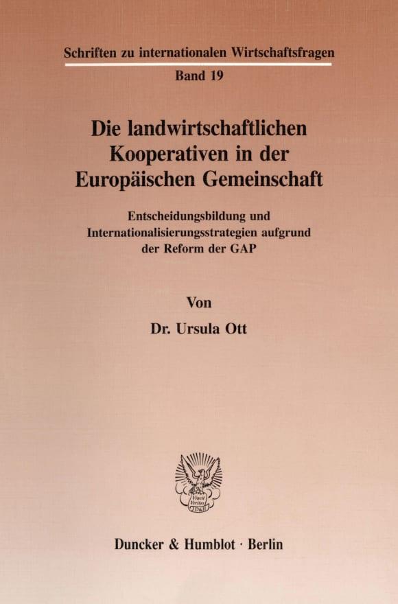 Cover Die landwirtschaftlichen Kooperativen in der Europäischen Gemeinschaft