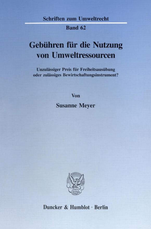 Cover Gebühren für die Nutzung von Umweltressourcen