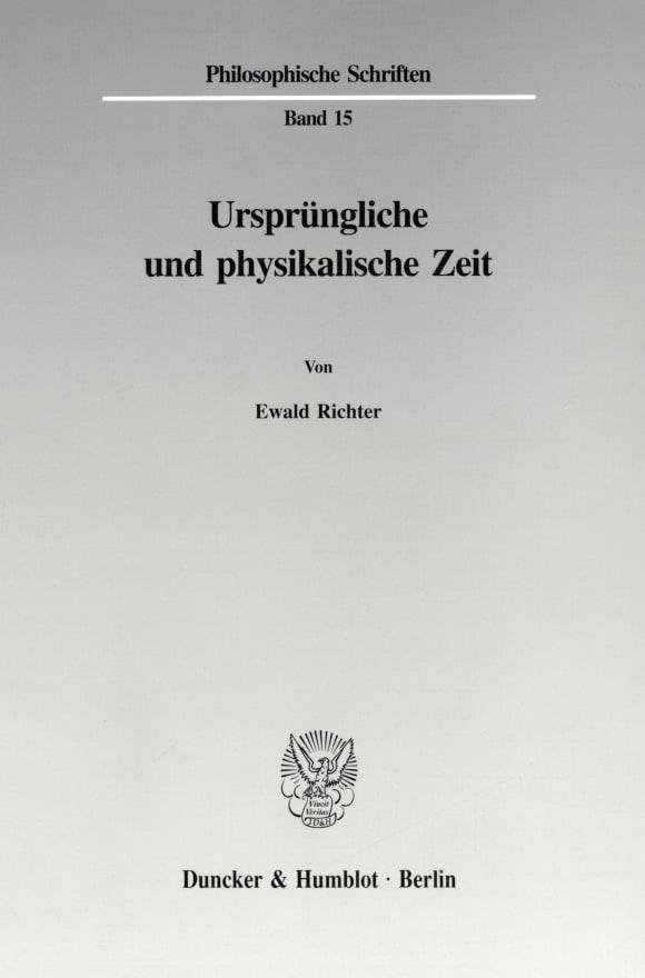Cover Ursprüngliche und physikalische Zeit