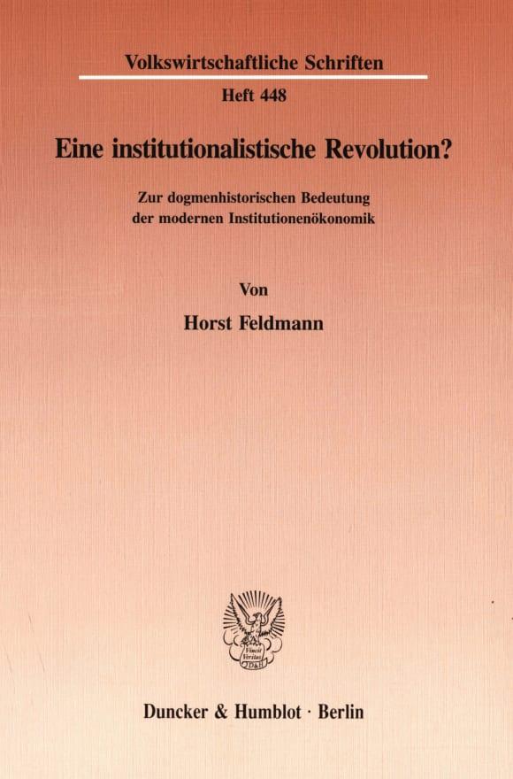 Cover Eine institutionalistische Revolution?