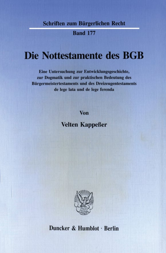 Cover Die Nottestamente des BGB