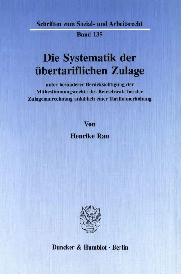 Cover Die Systematik der übertariflichen Zulage