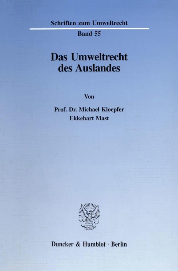 Cover Das Umweltrecht des Auslandes