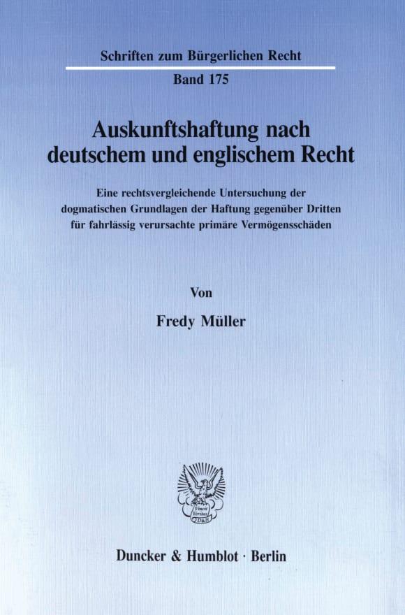 Cover Auskunftshaftung nach deutschem und englischem Recht