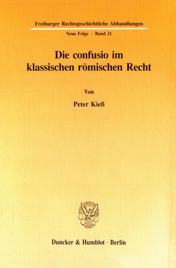 Cover Die confusio im klassischen römischen Recht