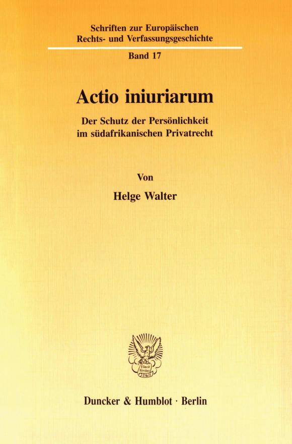 Cover Actio iniuriarum