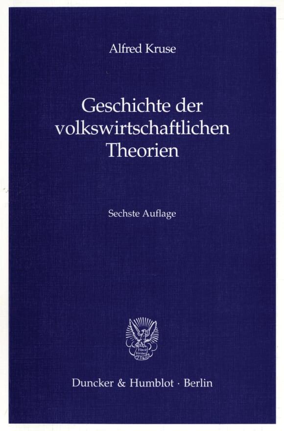 Cover Geschichte der volkswirtschaftlichen Theorien