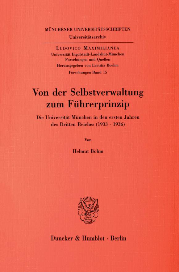 Cover Von der Selbstverwaltung zum Führerprinzip