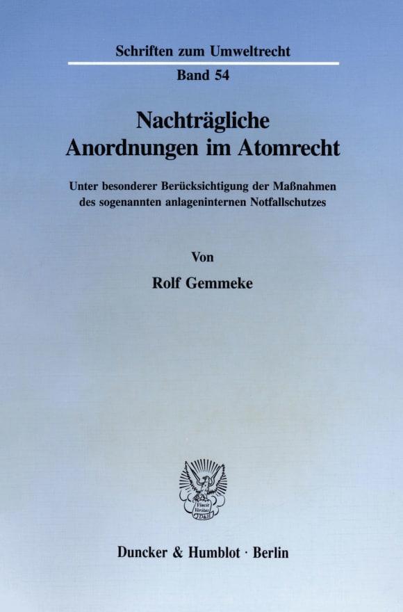 Cover Nachträgliche Anordnungen im Atomrecht