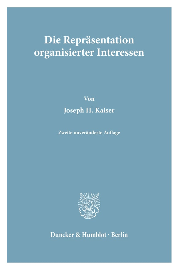 Cover Die Repräsentation organisierter Interessen